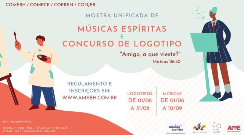 Cartaz da Mostra Unificada de Músicas Espíritas e Concurso de Logotipo, com ilustrações de pessoas pintando e cantando e informações sobre os eventos